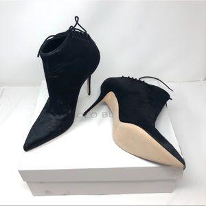 🆕 MANOLO BLAHNIK black calf hair pointed booties
